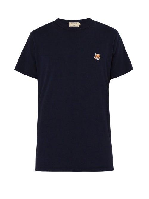 Maison Kitsuné - Fox Head-patch Cotton-jersey T-shirt - Mens - Navy