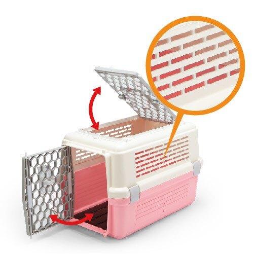 小Q狗~皇冠運輸籠-天窗型寵愛籠 No.843(粉色/藍色)有防誤開設計 犬貓外出皆可用