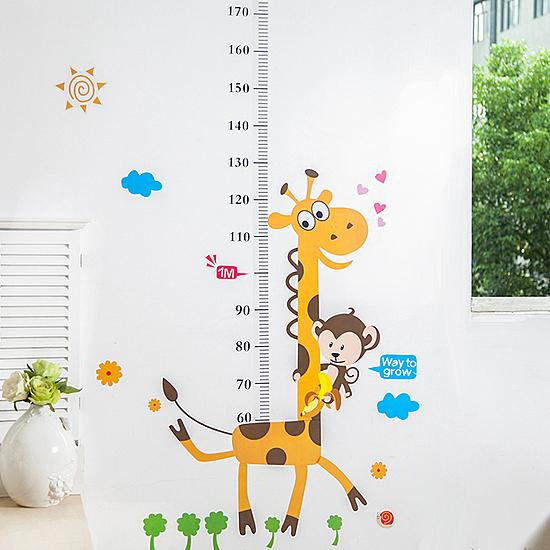 卡通圖案身高貼紙 動物 兒童 可愛 壁貼 臥室 裝飾 牆壁 美化 測量 幼兒【Q244】MY COLOR