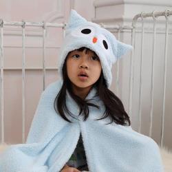 【MORINO摩力諾】動物造型速乾兒童連帽罩袍(貓頭鷹)