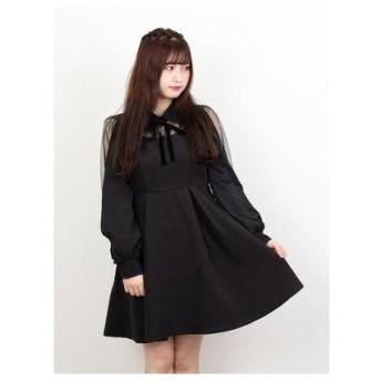 ロジータ ROJITA 配色レース衿ワンピース (ブラック)