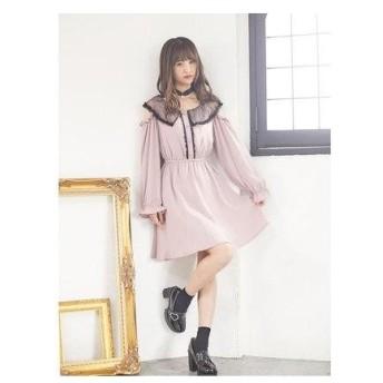 ロジータ ROJITA シアー衿肩開きワンピース (ピンク)