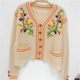 花柄 大人いセーター 刺繍コート