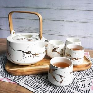 【Homely Zakka】北歐時尚大理石陶瓷茶壺杯托盤套組(白色)