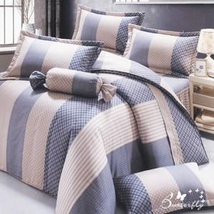【BUTTERFLY】台製40支紗純棉-加高30cm薄式加大床包枕套三件組-英倫風情-藍