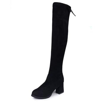 [天下] ニーハイブーツ レディース ロングブーツ 黒 24.5cm 7cmヒール ハイヒール ブーツ 長靴 美脚 コスプレ おしゃれ 歩きやすい ジョッキーブーツ ひざ丈 通勤 通学 オフィス エンジニアブーツ