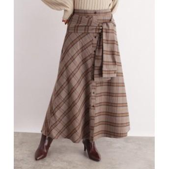 OZOC(オゾック) [洗える]ウエストリボンチェック柄スカート