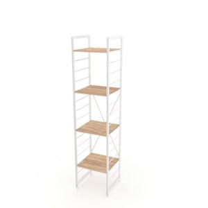(組)特力屋萊特四層架白框/淺木紋-40x40x188cm