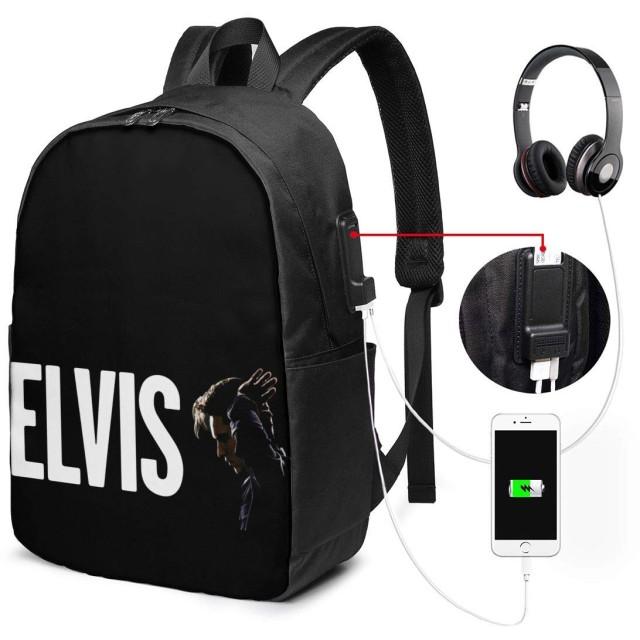 ELVIS リュックサック バックパック リュック 多機能 17インチ 大容量 通勤 通学 旅行 収納 アウトドア USBポート付き ビジネス カジュアル 黒 イヤホンポート メンズ レディース