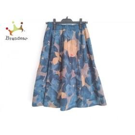 パラスパレス スカート サイズ0 XS レディース 美品 ブルー×ベージュ×マルチ 花柄 新着 20191121