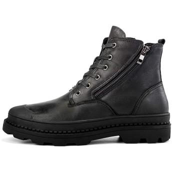 [KENIZU] マーチンブーツ 革靴 ーチンブーツ メンズ カジュアルシューズ ワークブーツ 耐滑 快適 ブラック ブラウン (24.5cm, ブラック)
