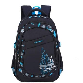 子供ファッションカジュアル大容量レタープリントバックパック学生ショルダーバッグ男の子スポーツバックパック (S, 青)