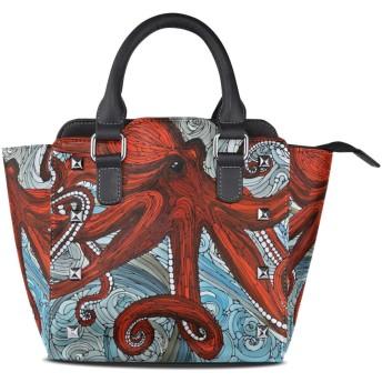 赤い抽象タコ女性の女の子のためのハンドバッグ女性クロスボディバッグ革サッチェル財布メイクトートバッグ