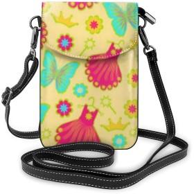 多機能レザー電話財布、軽量スモールショルダークロスボディポーチ、女性用調節可能ストラップ付きトラベルバッグ、ベアリーゼアガールズピンクドレスバタフライ
