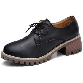 [SSJJ] レディース オックスフォードシューズ ウィングチップ レースアップシューズ マニッシュシューズ 厚底 黒色 ぺたんこ靴 編み上げ ブーティ おしゃれ カジュアル 靴 レザー 大きいサイズ かっこいい 23.0cm おじ靴 パンプス