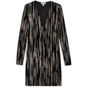 《セール開催中》TOPSHOP レディース ミニワンピース&ドレス ブラック 6 ポリエステル 93% / ポリウレタン 7% GLITTER VELVET DRESS