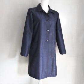 着物リメイク 大島紬のコート 7分丈 ネイビー