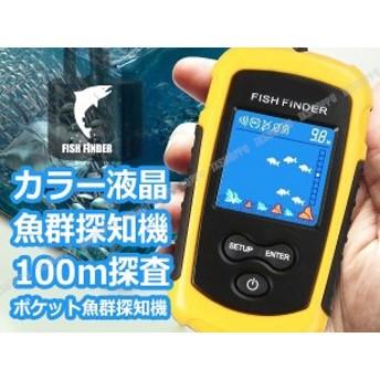 カラー液晶 魚群探知機 100m探査 魚探 ポケ探 ポケット魚群探知機 ソナー 電池式 小型 釣り フィッシング ツール ミニサイズ 送料無料