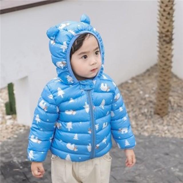 ダウンコート ベビージャケットアウター  赤ちゃん 子供服 キッズ 可愛い花柄 韓国風 ベビー服 冬アウター 軽量 冬服 防水 防寒 男の子
