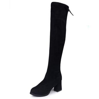 [天下] ニーハイブーツ レディース ロングブーツ 黒 25.0cm 7cmヒール ハイヒール ブーツ 長靴 美脚 コスプレ おしゃれ 歩きやすい ジョッキーブーツ ひざ丈 通勤 通学 オフィス エンジニアブーツ