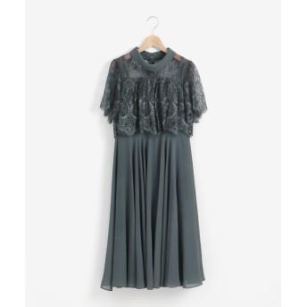 【ペルルペッシュ/Perle Peche】 ロールカラーネックレースレイヤードドレス