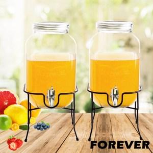 【日本FOREVER】夏天必備派對玻璃果汁飲料桶(含桶架)4L-雙入