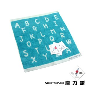 MORINO美國棉趣味字母緹花方巾2件組-藍色