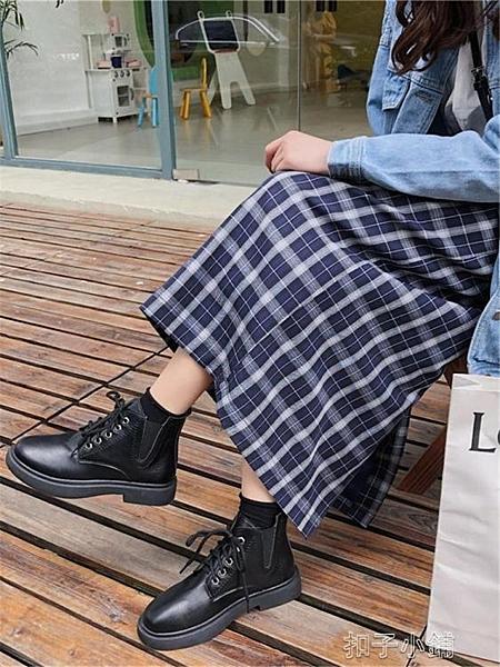 短靴秋季新款正韓網紅厚底短靴ins黑色瘦瘦單靴英倫風復古馬丁靴 【全館免運】