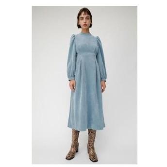 マウジー moussy CORDUROY PUFF SLEEVE DRESS (ライトブルー)
