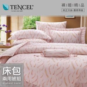 【貝兒居家寢飾生活館】100%萊賽爾天絲兩用被床包組(加大雙人/克萊亞)
