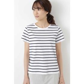 ヒューマンウーマン 新きょう綿半袖Tシャツ レディース シロ×ネイビー1 L 【HUMAN WOMAN】
