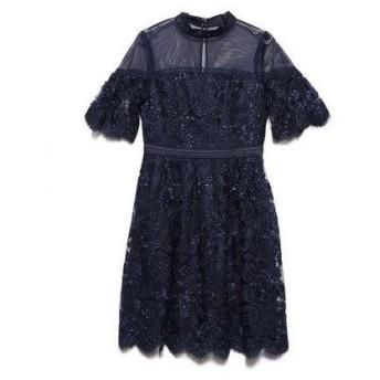 リリーブラウン Lily Brown コード刺繍ドレス (ネイビー)