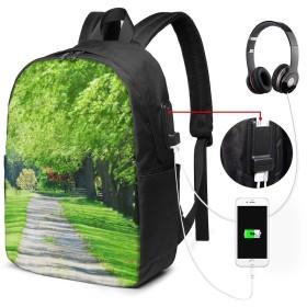 森 緑の並木 17インチ USB充電ポート付き 季節新品 通学 通勤 出張 旅行 多機能 メンズ レディース 大容量 黒 アウトドアリュック 登山リュック 調節可能