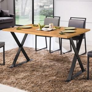 派克4.3尺全實木面黑腳餐桌