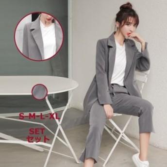 2点セット スーツ パンツ+ジャケット スーツジャケット パンツスーツ スラックスパンツ S-LL オフィス フォーマル 通勤