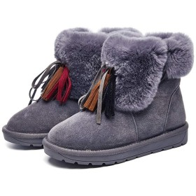 スノーブーツ ブーツ レディース ムートンブーツ ショートブーツ 厚手 防水 防寒 滑り止め 雪靴 裏起毛 歩きやすい 22.5cm~25cm (Color : Grey, Size : 39)