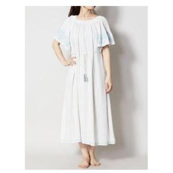 【Kahiko】コットンストライプ刺繍ワンピース ホワイト