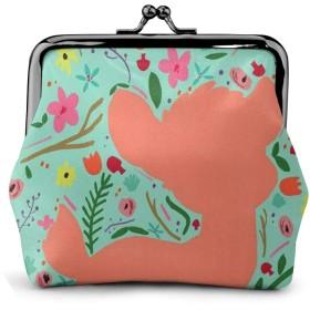 小銭入れ ミニ財布 コインケース ミニポーチ お札入れ トナカイと花 柄 小さい財布 PUレザー 小型でコンパクト 軽量 コイン 鍵 カード収納 約幅11.5cmx丈10.5cm