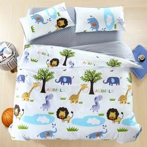 【BELLE VIE】快樂王國精梳棉加大五件式床包兩用被組