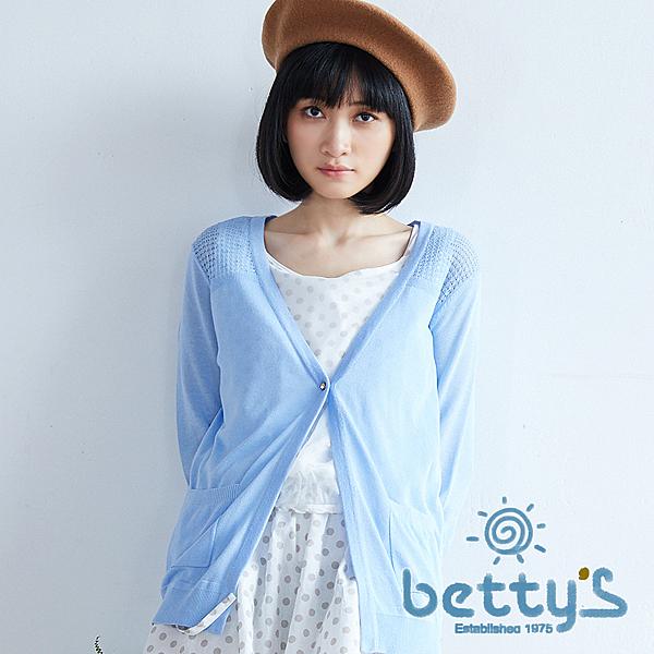 betty's貝蒂思 鑽釦點綴薄透開襟七分袖針織罩衫(天空藍)