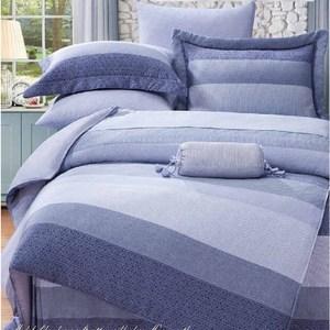 【貝兒居家寢飾生活館】100%萊賽爾天絲兩用被床包組(加大雙人/麻趣布洛藍)