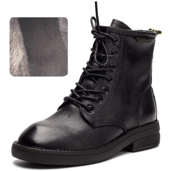[Pooxun] レディーズ ブーツ レディースブーツ マウンテンブーツ ショートブーツ ワークブーツ ヴィンテージ レースアップブーツ 靴 レディーズシューズ