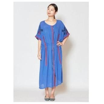 【チャイハネ】yul ロータス刺繍ワンピース ブルー