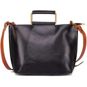 QTMIAO-Bags ワンショルダーのファッションカジュアルメッセンジャーバッグレトロレディースショルダーバッグ、女性の大容量ハンドバッグ多機能 (Color : Black, Size : 182710cm)