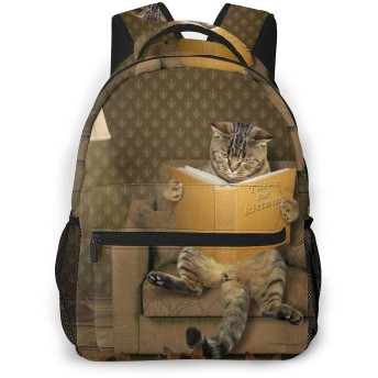 猫柄 スタンド 本 バックパック リュック 通学 遠足 旅行 多機能 大容量 収納 男女通用