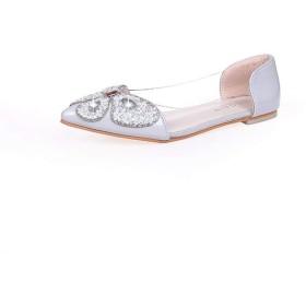[Oceanmap] ビジュー パンプス ローヒール バレエシューズ レディース 結婚式 パーティー バレエパンプス 歩きやすい 24.5cm 折りたたみ 脱げない 履きやすい 妊婦さん グレー ママ フォーマル カジュアル 旅行 婦人靴
