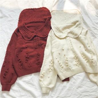 赤,白 大人のふんわり可愛いセーター 編み物