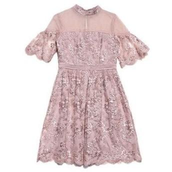 リリーブラウン Lily Brown コード刺繍ドレス (ピンク)