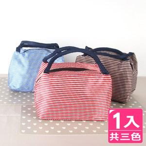 【AXIS 艾克思】多用途條紋防潑水保溫保冷袋.便當袋.購物袋_2入藍條紋
