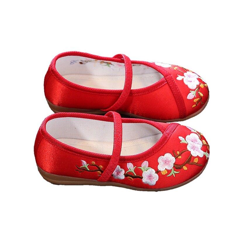 女童中國風繡花鞋 繡花鞋 旗袍搭配 表演 抓週 橘魔法 女童 大紅 新年 過年 拜年現貨【p0061199056133】